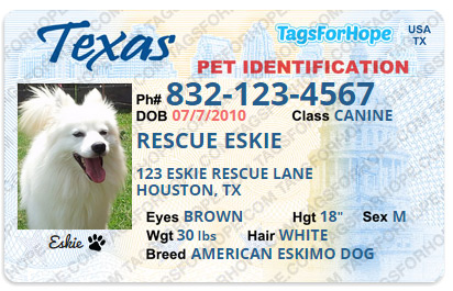 Tags for hope - 25% is donated to eskie rescue